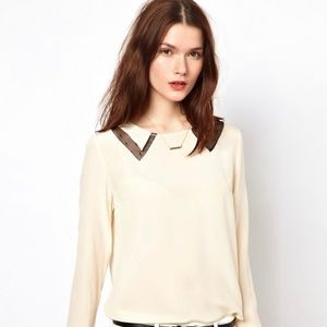 Aryn K Blouse With Cut-Out Mesh Collar Detail
